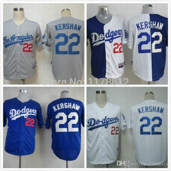 2017 New La Dodgers Jerseys #22 Clayton Kershaw Blue/white/gray Split Baseball Jersey Embroidery Logos Size:48-56 Mix Order