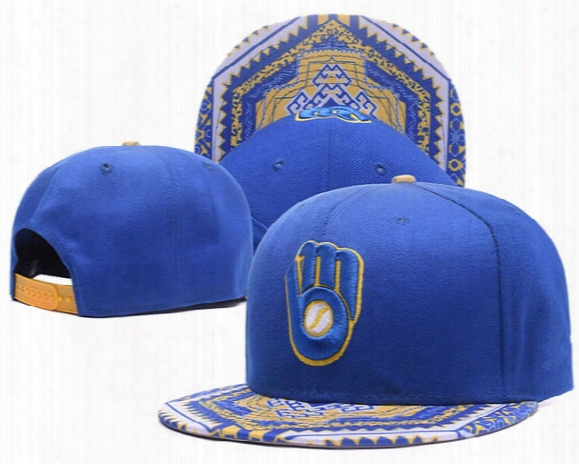 2017 New Men's Milwaukee Brewers Snapback Hats In Royal Blue Color Embroidered Logo Sport Adjustable Baseball Caps With Sepical Visor
