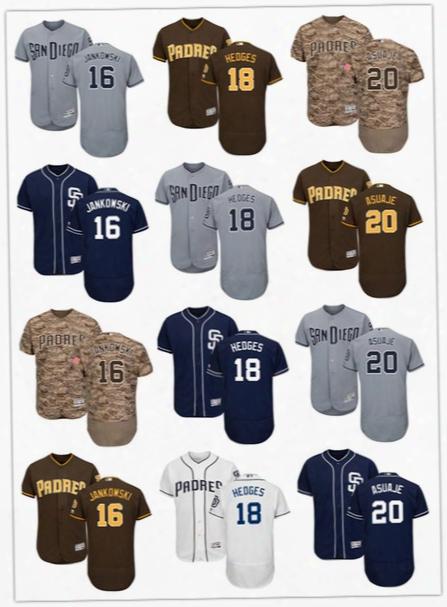 2017 New San Diego Padres Jerseys Flexbase Cool Base 20 Carlos Asuaje 18 Austin Hedges 16 Travis Jankowski Size S-6xl