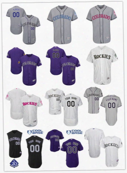 2017 New Top Quality Colorado Rockies Authentic Personalized Jersey 2014 Double Stitched Cool Base Custom Men's Baseball Jerseys Size S-6xl