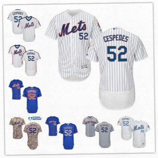 2017 New York Mets #52 Yoenis Cespedes White Pinstripe Pull Down Blue Gray Camo Ny Mlb Baseball Jerseys Sale From China Top Quality