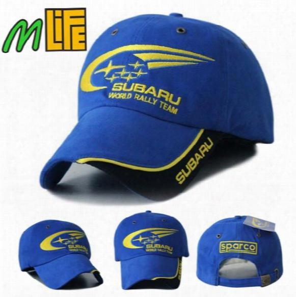 2017 Outdoor Men Subaru F1 Racing Cap Cotton Male Sports Motorcycle Racing Baseball Caps Car Visors Sun Hats Blue Bone