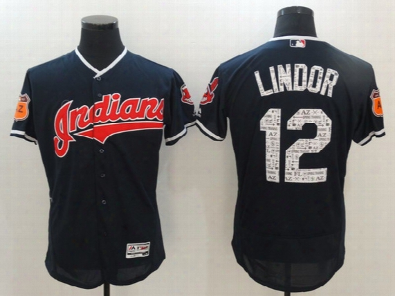 2017 Spring Training #12 Francisco Lindor Cleveland Indians Men All Stitched Flexbase Onfiled Baseball Jerseys Free Shipping