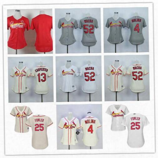2017 St. Louis Cardinals Women's Jerseys Baseball 25 Dexter Fowler 4 Yadier Molina 13 Matt Carpenter Ladies Stitched Jersey Drop Shipping