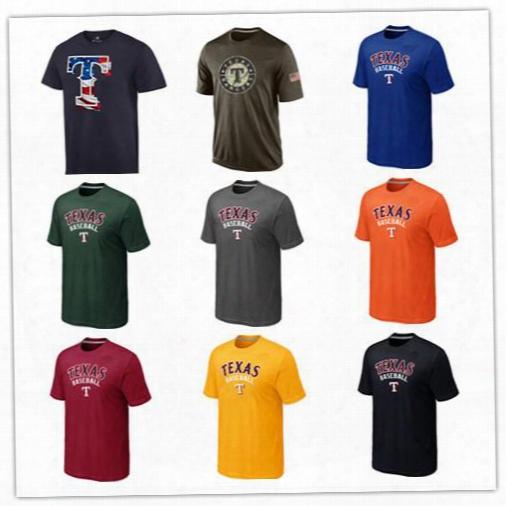 2017 Texas Rangers T-shirts Common Baseball Jerseys Printed Big Tall Banner Logos Black White Blue Yellow Green Salute To Service Tshirts