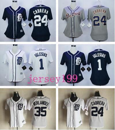 2017 Women Majestic Stitched Detroit Tigers Blank 1 Jose Iglesias 24 Miguel Cabrera 35 Justin Verlander White Blue Grey Jersey