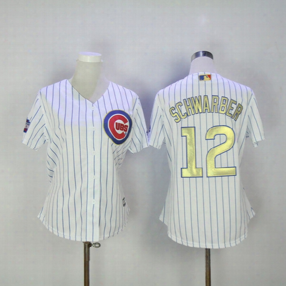2017 Women's Cubs Jersey Champion Chicago Cubs #12 Schwarber Gold Program #27 Russell Coll Base Majetic Jerseys White Stripe