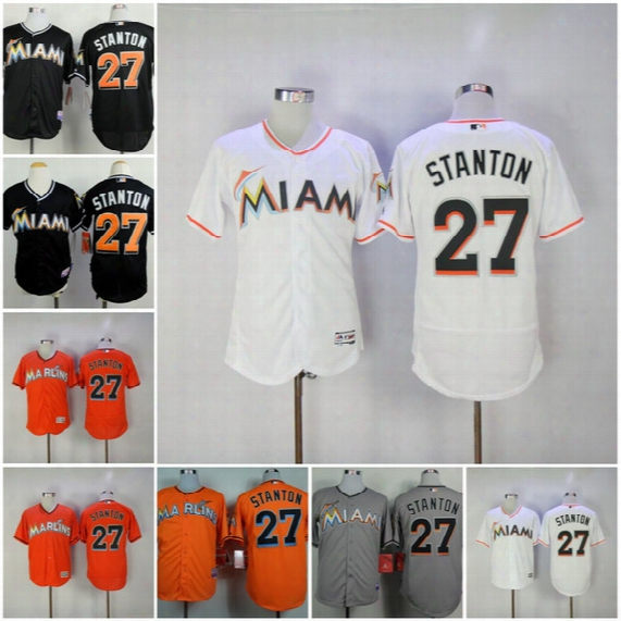 27 Giancarlo Stanton Miami Marlins Cool Base Authentic Collection Player Jersey Embroidery Logo Authentic Flex Base Baseball Jerseys S-xxxl