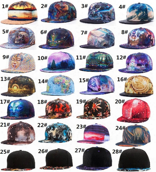 28 Styles 3d Pattern Printing Caps Men Women Sports Hats Baseball Cap Fitted Snap Backs Caps Fashion Hip Hop Caps