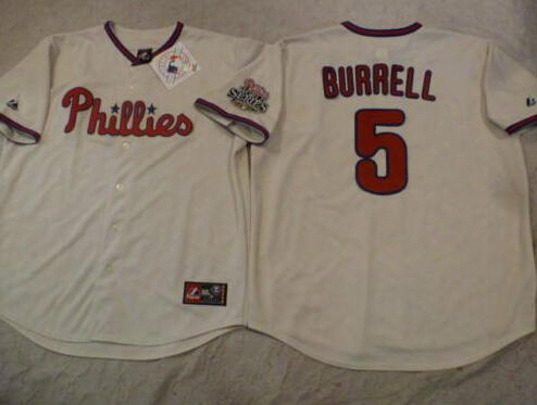 30 Teams- 2008 World Series Mens Jersey,philadelphia Phillies 5 Pat Burrell Baseball Jerseys, Authentic Stitched Throwback Baseball Jersey
