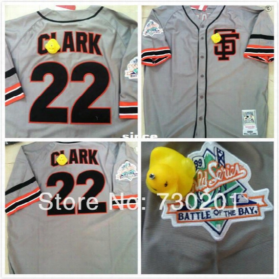 30 Teams- 2014 Cheap Free Shipp.men's Sf 22 Will Clark Grey Throwback Retro Baseball Jersey/ Shirt With Tags And Logos