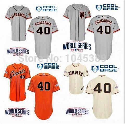 30 Teams- 2014 World Series Patch Giants #40 Madison Bumgarner San Francisco Baseball Stitched Jerseys Cream Grey,orange 2015 Black Men
