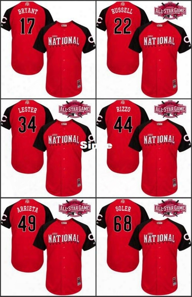 30 Teams- 2015 All Star Baseball Jerseys Cheap Stittched Chicago Cubs 17 Kris Bryant 44 Anthony Rizzo Authentic All Star Reds Jersey/shirt
