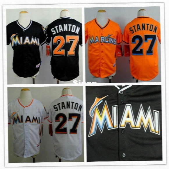 30 Teams- 27 Gianxarlo Stanton Jersey Youth Kids Baseball Jersey Custom Miami Marlins Jerseys Authentic Cheap Buy Dirct From China S-xl