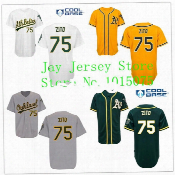 30 Teams- Barry Zito Jersey Cool Base Oakland Athletics Home Away White Green Yellow Gary Uniforms