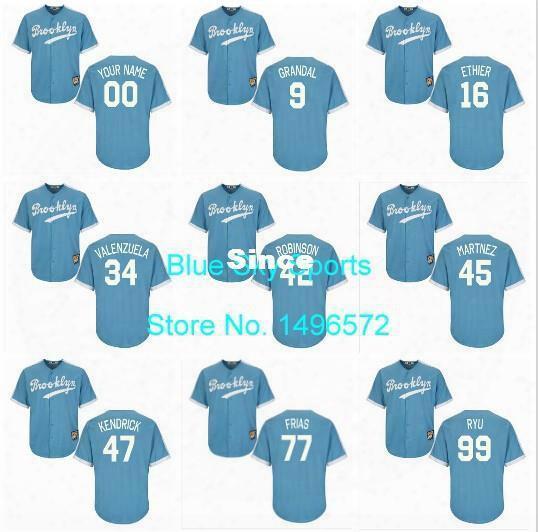 30 Teams- Brooklyn Dodgers Jersey Custom Maury Wills Sandy Koufax Fernando Valenzuela Jackie Robinson Baby Blue La Dodgers Jersey