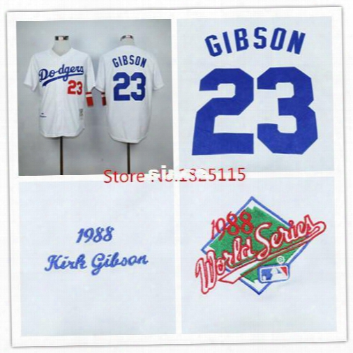 30 Teams- Cheap Los Angeles Dodgers 23 Kirk Gibson Jersey White 1988 Throwback La Dodgers Baseball Jersey