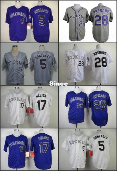 30 Teams- Cheap Sale Colorado Rockies 5 Carlos Gonzalez 17 Todd Helton 28 Nolan Arenado Stitched Baseball Jersey Color Purple Gray White