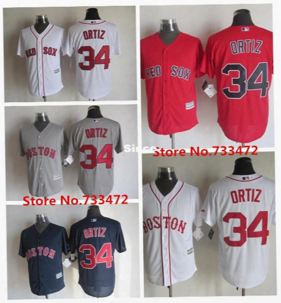 30 Teams-factory Outlet Mens Womens Kids Boston Red Sox 34 David Ortiz White Grey Red Blue Best Quality Flex Base Cool Base Baseball Jerseys