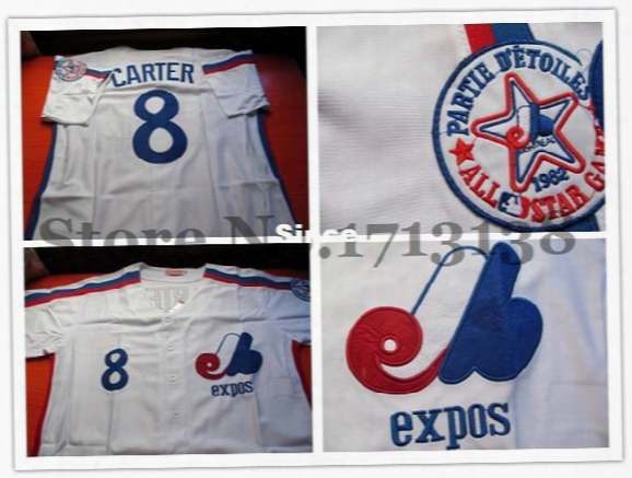 30 Teams- Good Quality Evaluation! Montreal Expos 8 Gary Carter White Baseball Jerseys Size:48-56