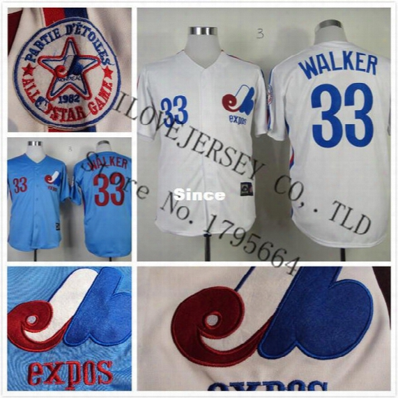 30 Teams- Montreal Expos Jersey 33# Larry Walker Jersey Embroidery Authentic Big Size 60 Cheap Short Sleeve Baseball Jersey 5027