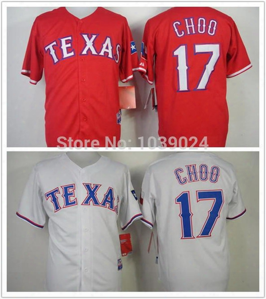 30 Teams-wholesale Texas Rangers 17 Shin-soo Choo Jersey Red White Baseball Team Color Shin-soo Choo Baseball Jersey Top Quality