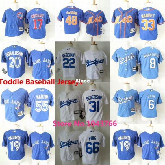 30 Teams- Wholesale Toddler Baseball Jerseys Jose Bautista Russell Martin Lorenzo Cain Infant Clayton Kershaw Baby Jerseys 2t-5t