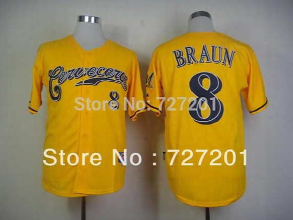 30 Teams-wholesale Wholesale 2016 New Che Ap Men's Baseball Jerseys Milwaukee Brewers Authentic #8 Braun Cerveceros Cool Base Jersey
