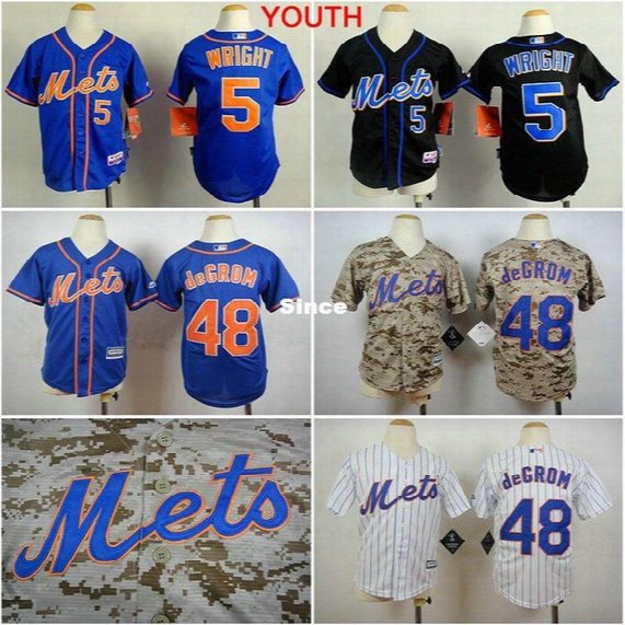 30 Teams- Youth New York Mets 5 David Wright 48 Jacob Degrom Boys Ny Jersey Stitched Authentic Kids Baseball Shirt For Children