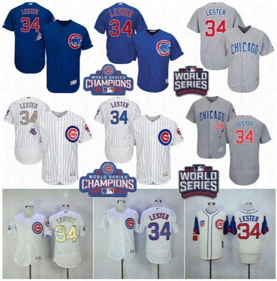 34 Jon Lester Jerseys 2017 World Series Champions Men's Chicago Cubs Gold White Flex Cool Base Throwback Baseball Jerseys Embroidery Logo