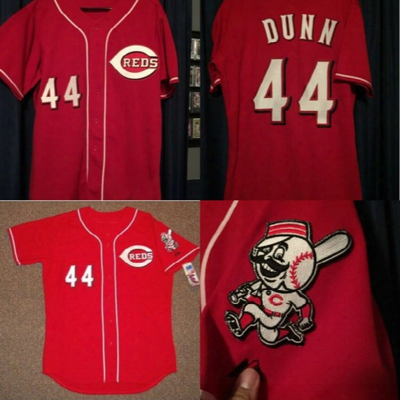 #44 Adam Dunn Cincinnati Reds Authentic Throwback Baseball Jersey 100% Stitched Embroidery Logos Retro Baseball Jerseys Any Name Number