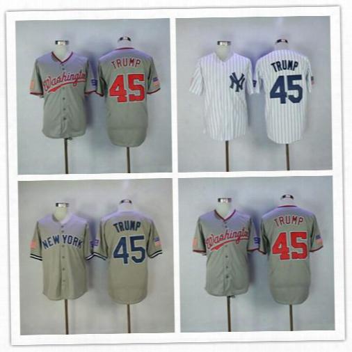 45th President Make America Great Again 45 Donald Trump Jerseys Baseball New York Yankees Washington Nationals White Grey Shirts