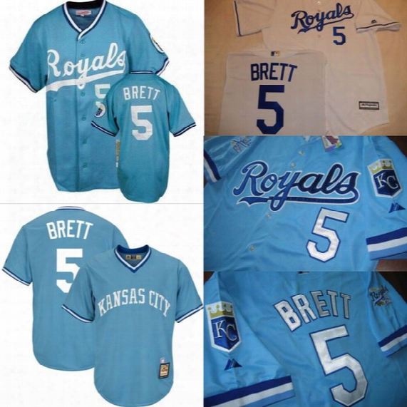 5 George Brett Kansas City Royals Cooperstown Classic Throwback Baseball Jersey 100% Stitched Embroidery Logos Retro Jerseys Any Name Number