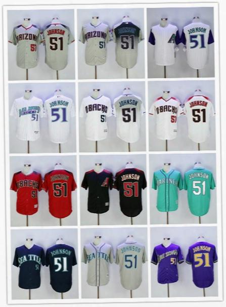 51 Randy Johnson Jerseys Baseball Rtro Cooperstown Fashion Arizona Diamondbacks Montreal Expos Seattle Mariners White Grey Green Red Shirt