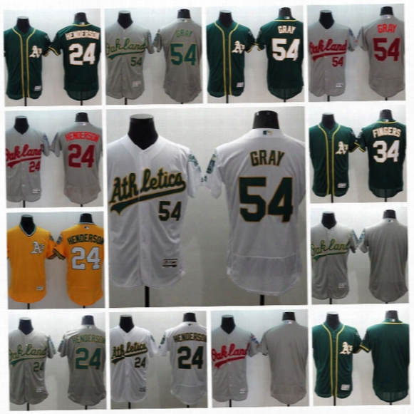 #54 Sonny Gray 2017 Oakland Athletics #24 Ricky Henderson #34 Rollie Fingers Men All Stitched Embroidery Flexbase Onfiled Baseball Jerseys