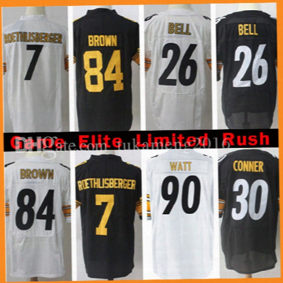 7 Ben Roethlisberger 26 Le'veon Bell 84 Antonio Brown Jersey Men's 30 James Conner 84 Antonio Brown Jerseys Embroidery Logos 100% Stitched