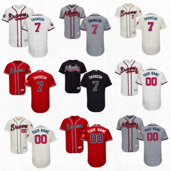 7 Dansby Swanson Atlanta Braves Mens Custom Baseball Jerseys Flex Base On-field Cool Base All Stiched Embroidery Logos Jerseys Free Shipping