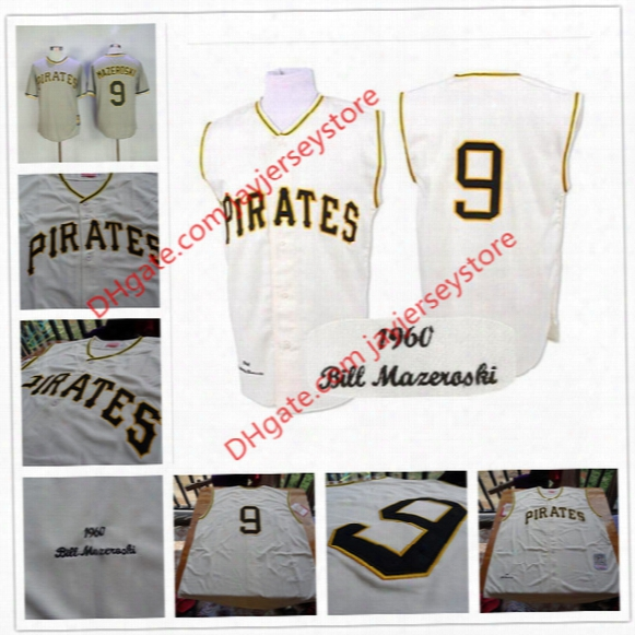 #9 Bill Mazeroski Jersey Grey Pullover Turn Back Cream Stitched 1960 Vintage Throwback Pittsburgh Pirates Jerseys