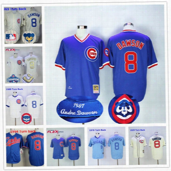 Andre Dawson Jersey Vintage Chicago Cubs Montreal Expos Cooperstown White Blue Baseball Uniforms Home Away Authentic
