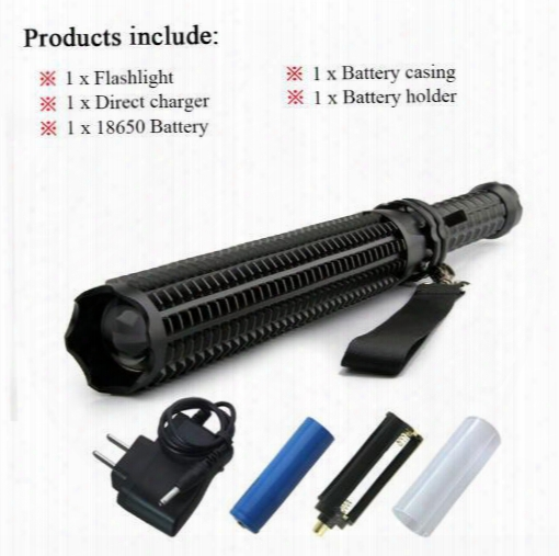 Baseball Bat Lanterna Powerful Telescoping Cree Xml L2 Led Flashlight Tactical Torch Baton Flash Light Self Defense 18650 Or Aaa