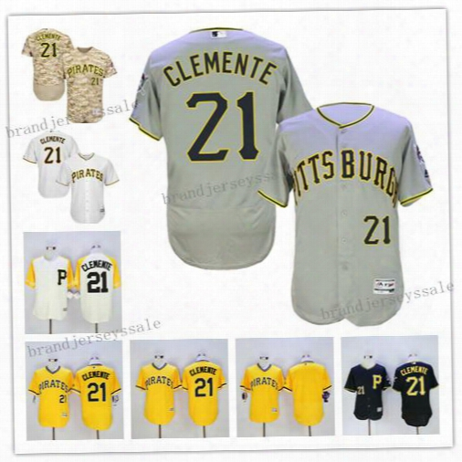 Baseball Jerseys Pittsburgh Pirates #21 Roberto Clemente Flexbase Camo White Yellow Jerseys Majestic Black Alternate Cool Base Player Jersey
