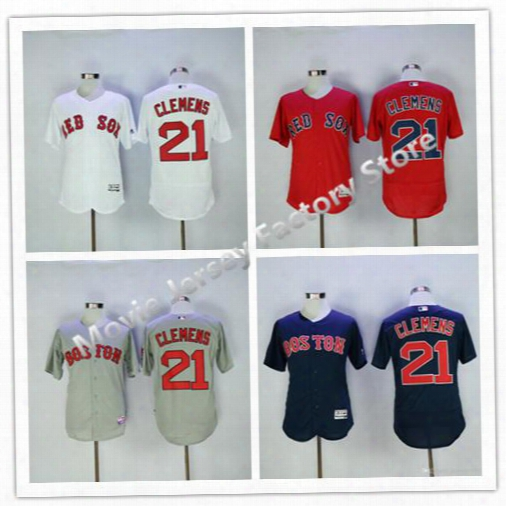 Boston Red Sox #21 Roger Clemens Flexbase Baseball Jersey White Red Blue Gray. Size M.l,xl,xxl,xxxl