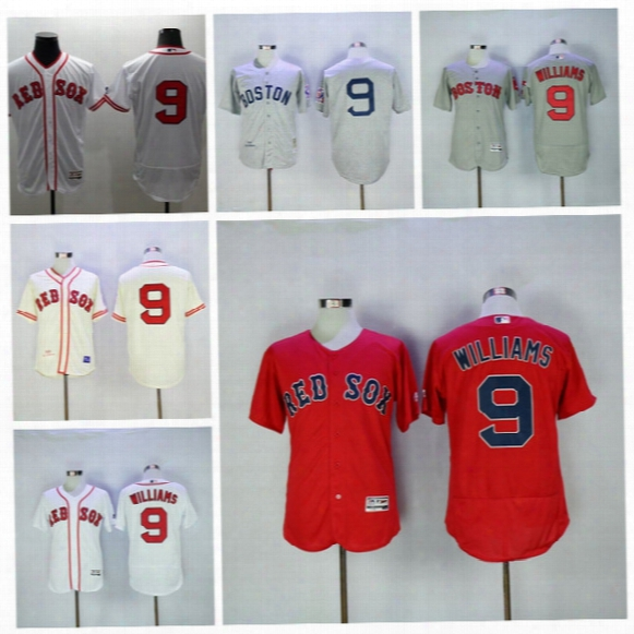 Boston Red Sox 9 Ted Williams Jersey 1939 Cooperstown Hemp Grey Cream Red Sox Baseball Jersey Flexbase Cool Base Vintage Grey White