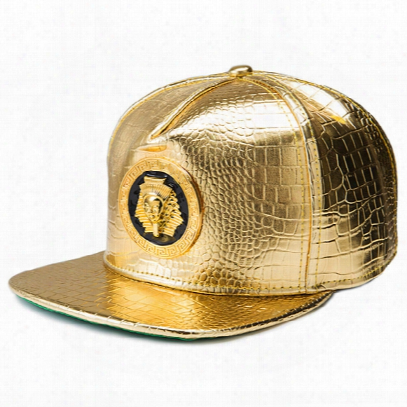 C4 Hip Hop Snapback Caps Pharaoh Leather Baseball Caps Golden Hats Cool Street Bboy Rapper Dancer Mc Dj Skate Ogrras