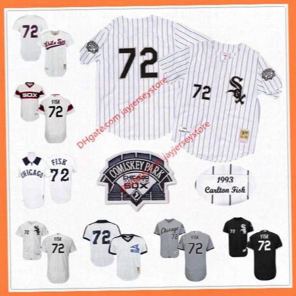 Carlton Fisk Jersey Flexbase Cooperstown Cool Base White Pinstripe Grey Black Chicago White Sox Jerseys Home Away Stitched