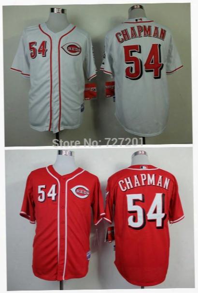 Cheap 2016 Men's Baseball Jersey Cincinnati Reds #54 Aroldis Chapman Baseball Shirt,embroidery Logos,size M-xxxl