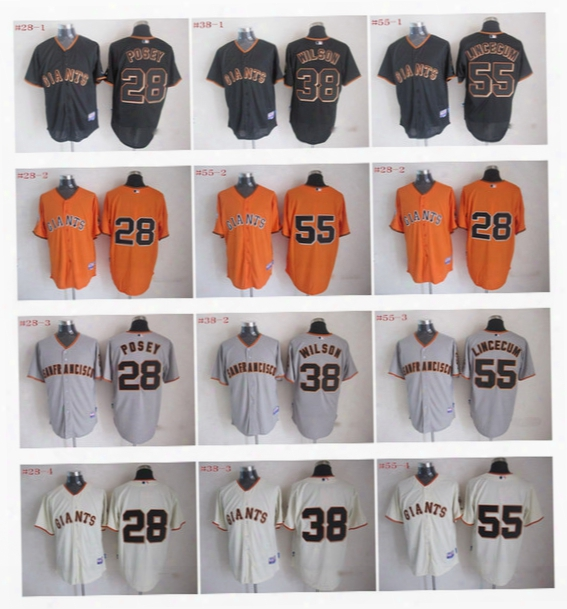 Cheap Authentic San Francisco Giants Jersey Mlb #28 Buster Posey #38 Brian Wilson 55 Tim Lincecum Baseball Sports Jerseys Embroidery Logos