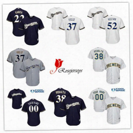 Cheap Cool Base Mens Milwaukee Brewers 57 Chase Anderson Navy Blue 27 Zach Davies Gray 33 Tommy Milone White 52 Jimmy Nelson Stripe Jerseys