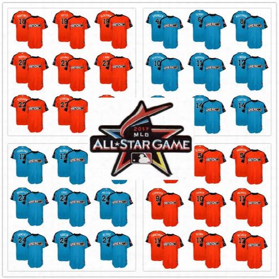 Cheap Custom Personalized Baseball Men Women Youth New Style National League American Jersey World Orange 2017 Mlb All-star Baseball Jerseys