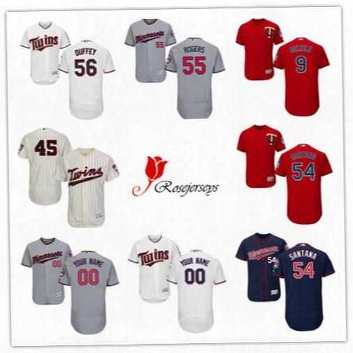 Cheap Flex Base Mens Minnesota Twins Custom 45 Phil Hughes Navy Blue 54 Ervin Santana Gray 9 Matt Belisle White 55 Taylor Rogers Red Jerseys